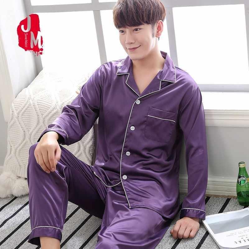 2018 Satin Men Pajamas Set Summer Long Sleeve Two-Piece Homewear Silk  Sleepwear For Men 5263fc56b