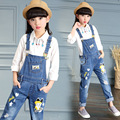 Crianças Macacão Para Meninas Escola Roupas de Jeans Crianças Meninas Denim Calças Ropmers Meninas Macacões Calças 3 4 6 8 10 12 Anos