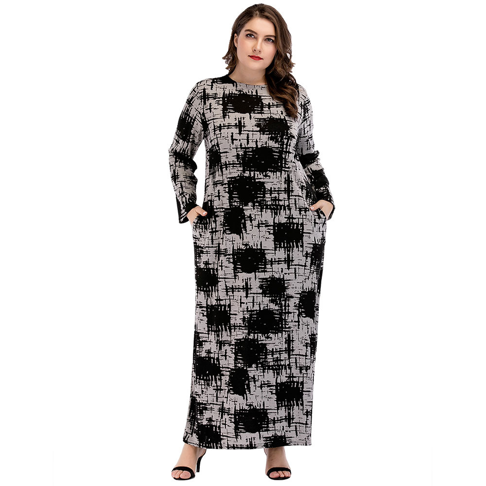 Autumn Middle East Muslim Women Fashion O-Neck Long Sleeve Casual Loose Jersey Knitted Long Dress Ramadan Eid Robe Abaya Gown women s maxi dress winter abaya striped robes loose style thickening knitted cotton jilbab muslim middle east islamic clothing