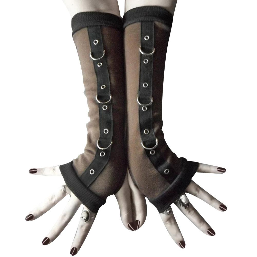 Punk Women Fingerless Gloves Metal D-ring Arm Warmer Sleeves With Thumb Hole New Chic