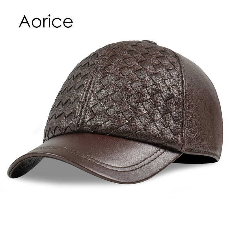 Aorice men genuine leather cowskin cap 100% Real Leather Russian winter warm army with ears solid color  fashion hats HL188 aorice genuine leather baseball cap men hats and caps solid color brown black leather leisure fashion travel biker hl187