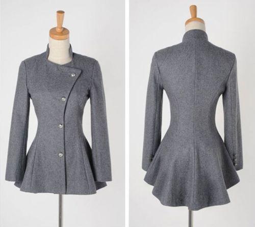 FASHION Women Slim Fit Tailcoat Wool Coat Long Sleeve Casual Suit Jacket 4 Size