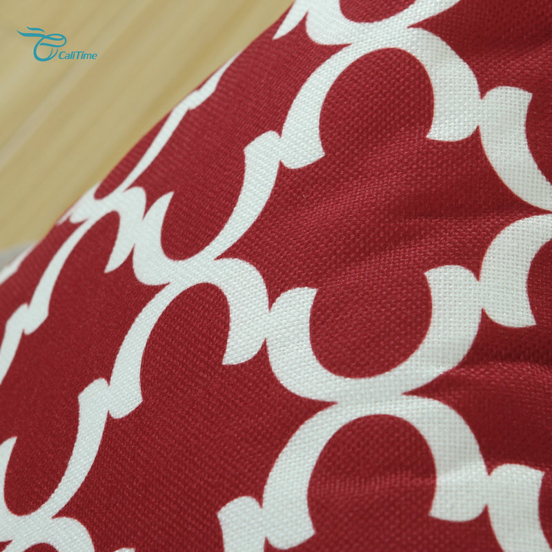 2PCS Square CaliTime Burgundy Cushion Cover Pillows Shell Quatrefoil Accent Geometric Home Sofa Decor 18 X 18(45cm X 45cm)