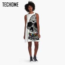 Череп печати платье трапециевидной формы Платье черного цвета 3D с принтом черепа Лето 2017 г. Для женщин партии Винтаж вязаное платье Свободные О-образным вырезом Повседневные платья