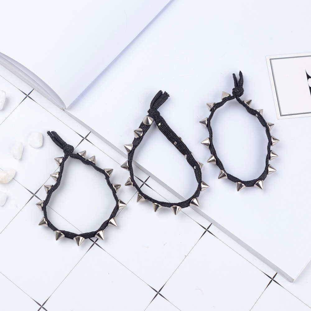 3 Pcs Punk Hair Accessories  Hairband Pearl Women  Ponytail Holder Plastic Crystal Gum For Hair Ring Elastic Hair Band