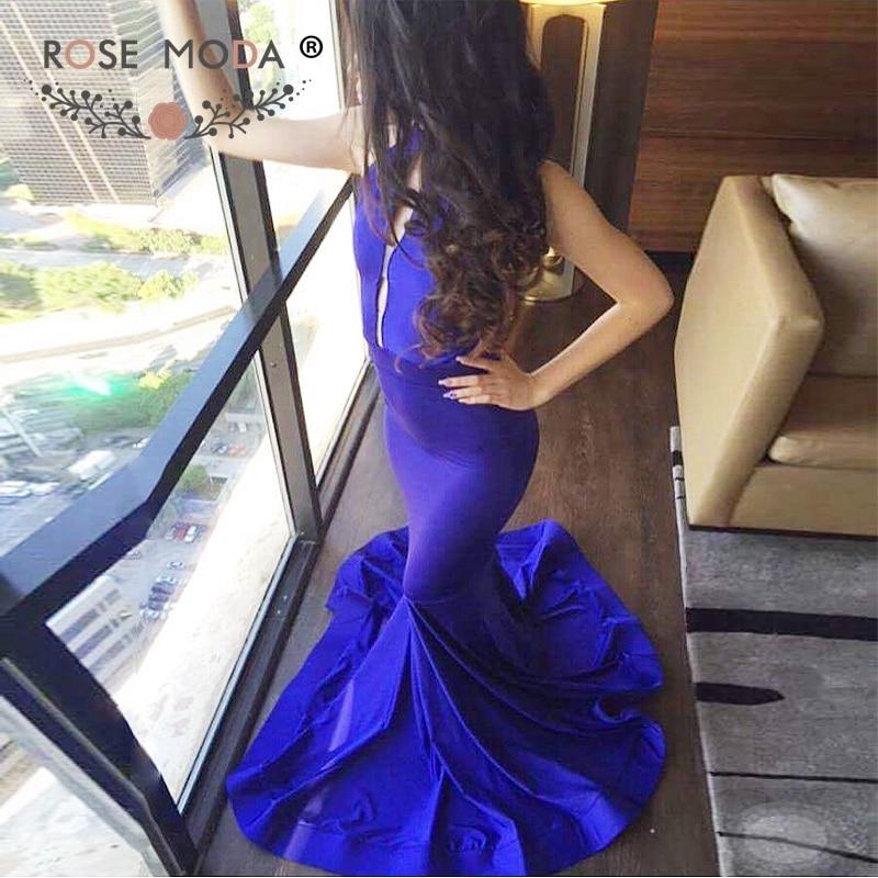 Rose Moda Halter Backless Blue Mermaid   Evening     Dress   Formal Party   Dress   2019 Reflective   Dresses