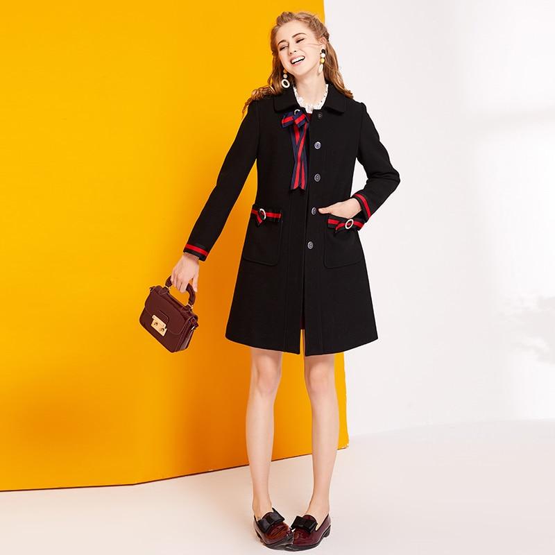 2017 Small Fragrant Wool winter Coat Long Sleeved Slim Black Single Breasted Coat