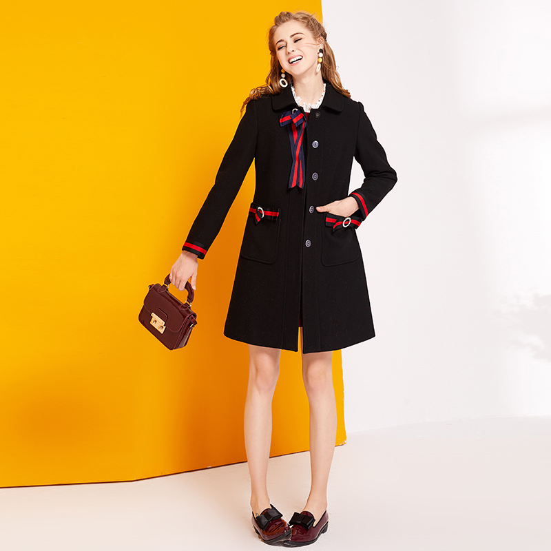 2017 صغيرة عبق معطف بأكمام طويلة سليم الأسود واحدة اعتلى معطف الصوف الشتاء-في صوف مختلط من ملابس نسائية على  مجموعة 1