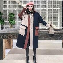 Fashion Navy Beige Pink Stitching Woolen Jacket Female Long Paragraph Korean 2018 New Thicken Warm Winter Women Wool Coat Z49
