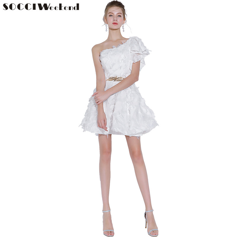 SOCCI Weekend   Cocktail     Dresses   2018 Simple Banquet White One Shoulder Mini Party Gown with Belt Formal   Dresses   Robe De Soiree