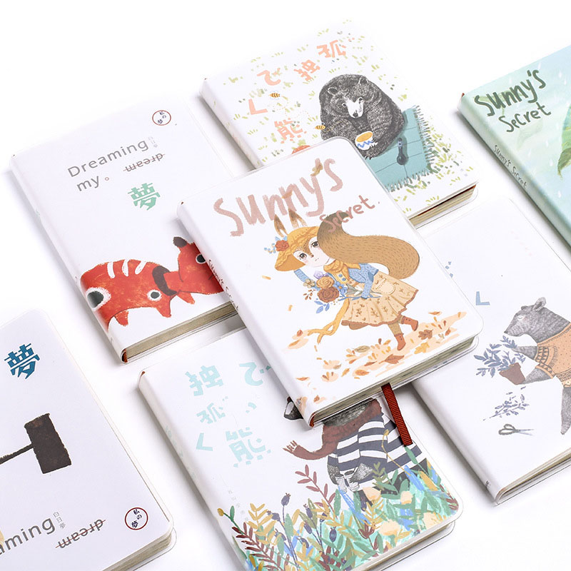 Cute Kawaii Cat Dog Notebook Diary Cartoon Animal Agenda Dokibook For Writing School Supplies Student 2069 1pc creative cute cartoon animal planner notebook diary book wooden school supplies student gift