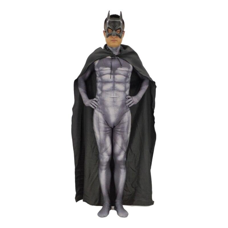 3D printing Batman DarKnight Cosplay Costume Bruce Wayne Superhero Zentai Bodysuit Suit Jumpsuits Mask + Cloak + Jumpsuits