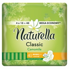NATURELLA Classic Женские гигиенические прокладки с крылышками Camomile Normal Quatro 40 шт.