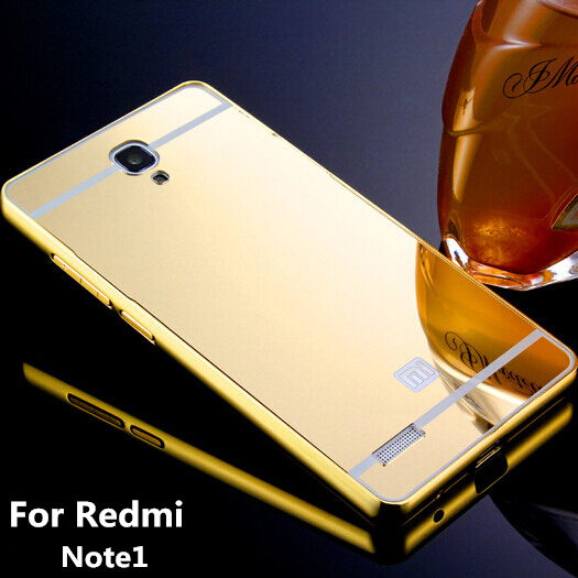 cheap for discount eb0c6 16772 HM RM Note1 for Xiaomi Hongmi Redmi Note 1 Gold plated Aluminum Metal Frame  And Mirror Back Cover Case Cell Phone Bag Cases