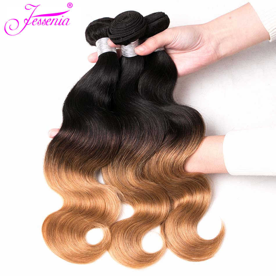 JESSENIA HAIR Malaysian Body Wave Bundles Deal 1b/27 Light Brown Remy Ombre 100%Human Hair Extensions 10 To 26 Inch 3 Bundles