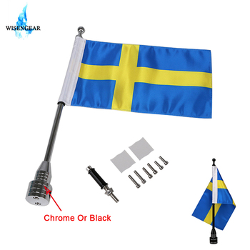 13 Flag Pole + 6 x 9 Flag Banner Rear Mount Luggage Rack Sweden Flag Pole For Harley Touring Sportster Honda Goldwing CB GL image