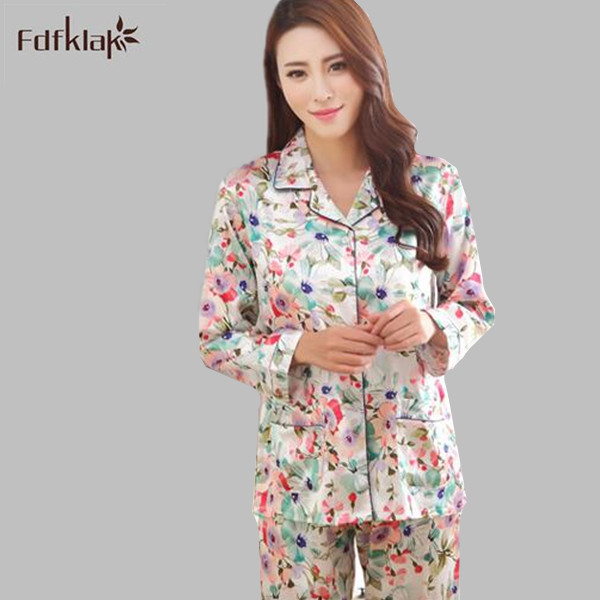 Womens Silk Satin   Pajamas     Sets   Casual Sleepwear Long Sleeve Nightgowns Long Pants Sleepwear   Pajamas     Sets   Plus Size M-XXL E1255