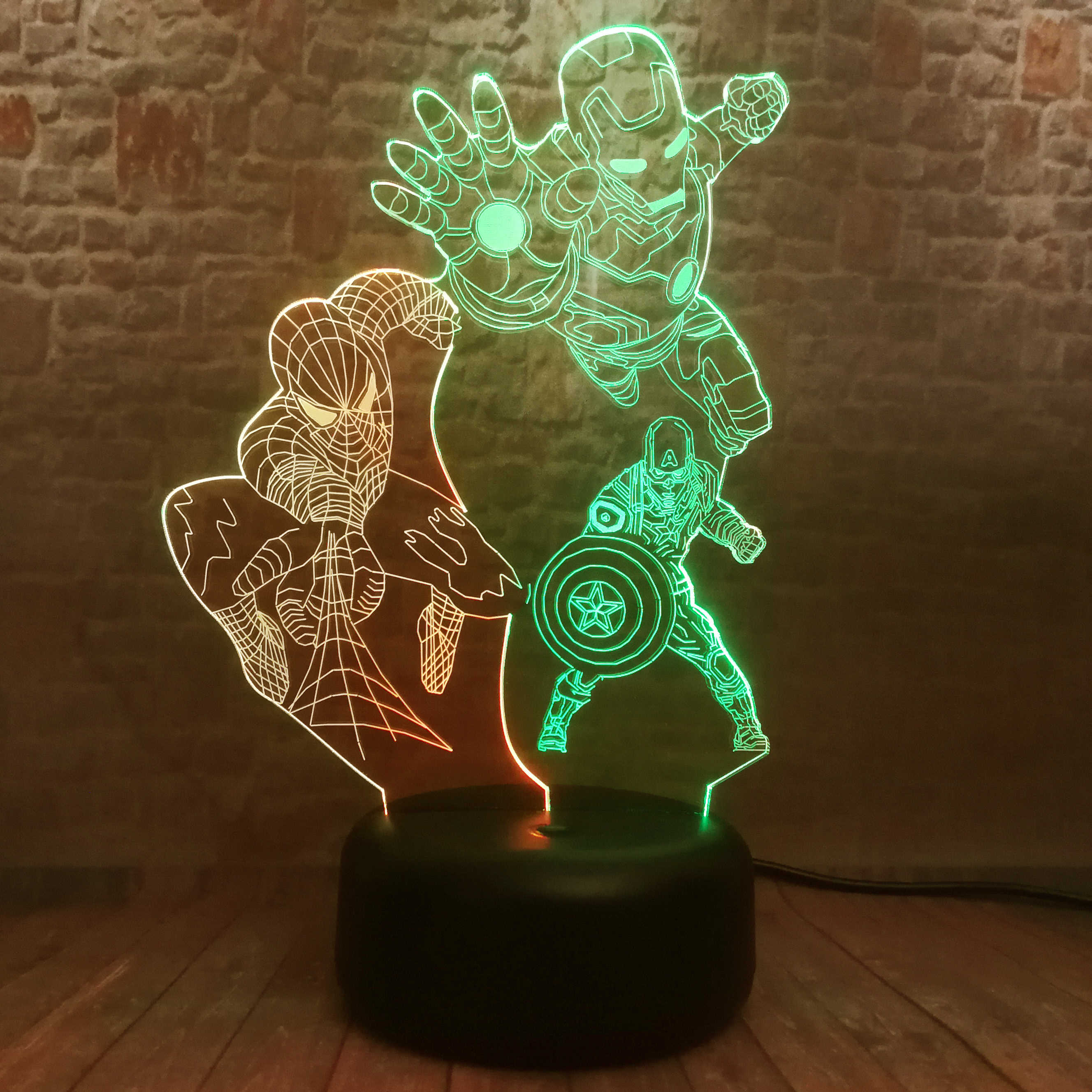 Amroe 3 héroe vengadores final Ironman Marvel Spiderman, Capitán América, figura 3D luz nocturna LED 7 mixto cambio de colores de juguete Luz