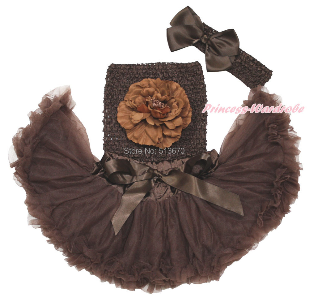 Newborn Brown Crochet Tube Top Pettiskirt Skirt Baby Girl Tutu Outfit Set NB-3Y MAPSA0558 юбка blue shells cosplay pettiskirt tutu lolita