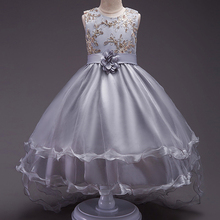 Tüll-Ballettröckchen-Ballkleid-formales Partei-Kleid-Mädchen-Blumenkind-Brautjunfer-Hochzeits-Kleider Kinderpaillette, die festes Abend-Kleid hintergeht