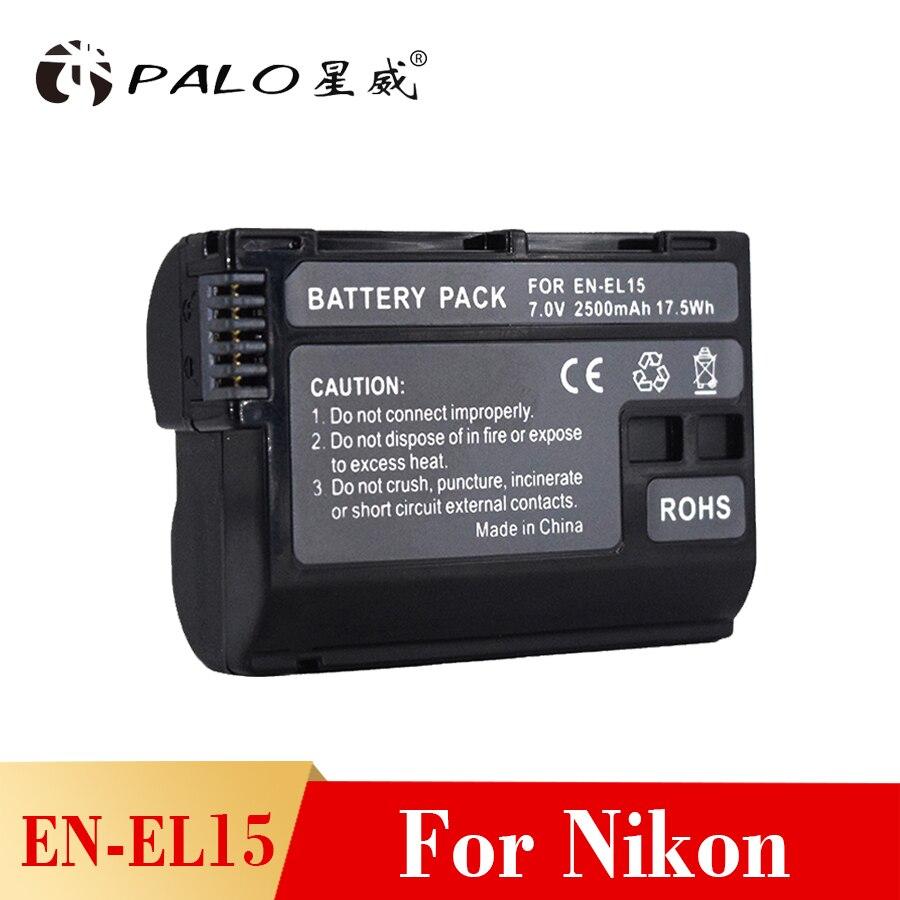 PALO camera battery EN-EL15 ENEL15 EL15 Full Decoded 2500mAh digital Battery for Nikon d7200 d600 d850 d750 d7100 d810 d800 d610