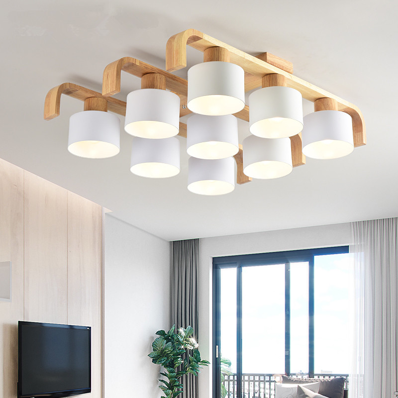 Nordic Style Ceiling Lights For Living Room Square Surface Mount White Bedroom Lamp Wooden Ceiling Lamp Dining LuminaireNordic Style Ceiling Lights For Living Room Square Surface Mount White Bedroom Lamp Wooden Ceiling Lamp Dining Luminaire