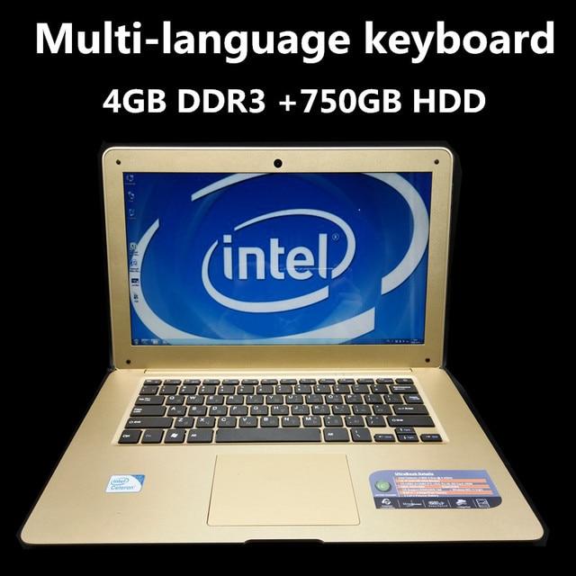 1920*1080P Windows8/7/10 14 inch Gaming laptop notebook Intel J1900 Quad Core 4GB DDR3 750GB SSD Webcam slim netbook with USB3.0