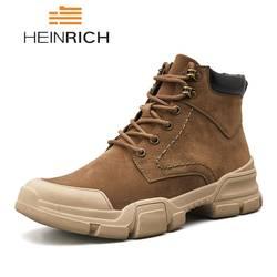 HEINRICH/осенне-зимние ботинки, мужские удобные ботинки martin, модные рабочие ботинки на шнуровке с высоким берцем, Chaussure Bota Hombre