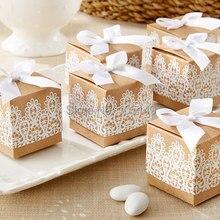 100 шт./лот) креативная Подарочная коробка рустикальная и кружевная крафт-коробка с лентой для украшения свадебных и праздничных конфет бумажная коробка