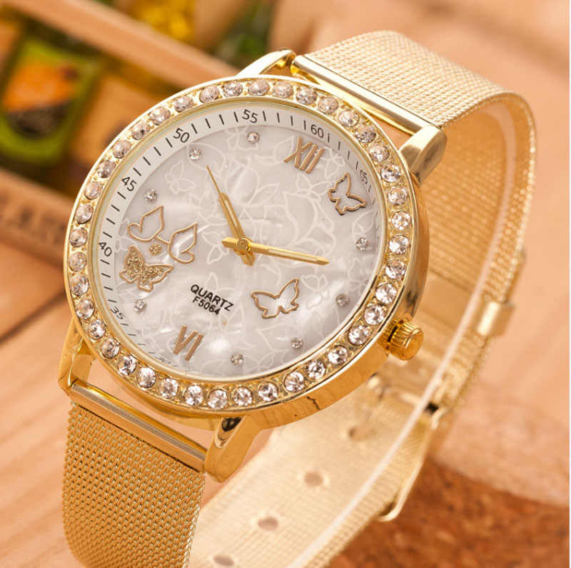 Women Ladies Crystal Butterfly Gold Stainless Steel Mesh Band Wrist Watch
