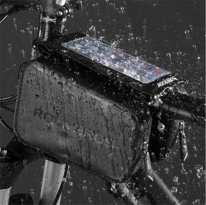 RockBros Waterproof Bike Touch Screen Phone Bag Frame Tube Head 6.0 Pannier Rainproof Cycling Accessori