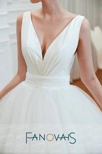 Image 4 - Fanovais טול V צוואר פשוט אלגנטי ראפלס Vintage כלה שמלות כלה שמלות Vestido דה Novia robe דה mariee