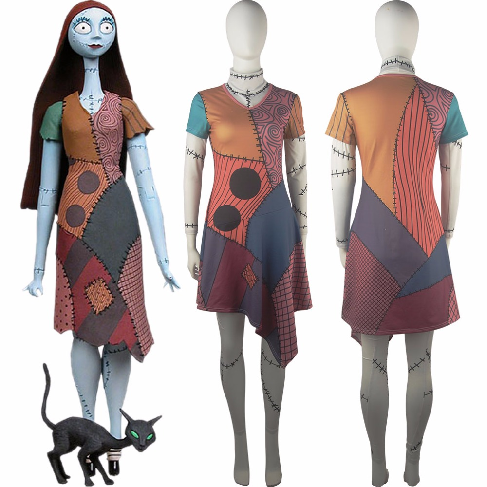The Nightmare Before Christmas Sally Ball Prom Dress Women Halloween Anime Comic-con Cosplay Costume
