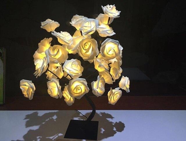 Rozen bed koplampen nachtlampje meisje hart kamer decoratie