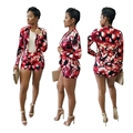 Red Flower Floral Print Two Piece Set Women Blazer And Shorts Set Feminino Work Wear Bodysuit Office Lady Jumpsuit Autumn