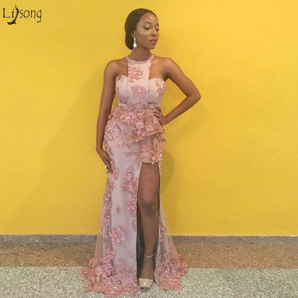 Fashion Gonna Flower Pink Mermaid Evening Dresses 2019 Sexy High Side Split Lace Beaded Long African Prom Gowns Abendkleider