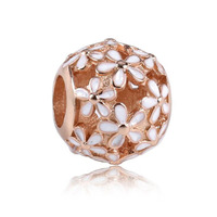 High Quality Beautiful Rose Gold Color White Enamel 925 Sterling Silver Hollow Flower Charm Fitting European