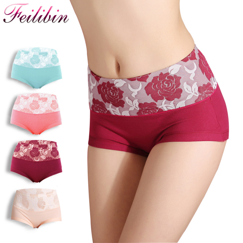 Feilibin 4pcs/Lot High Waist Sexy Women Panties Cotton Comfort Lovely Print Panty Floral Plus Size XXL Underwear Women Beiefs