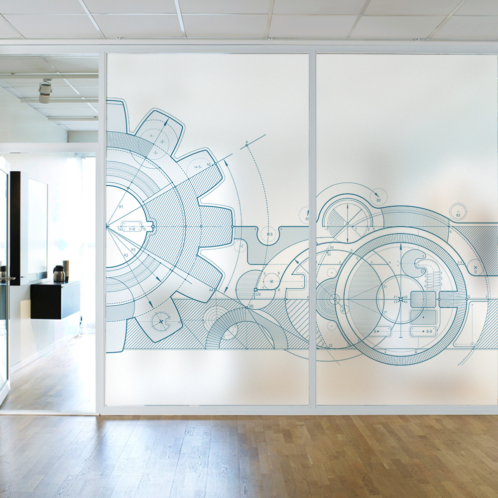 Design space innovation office partition glass sticker matte electrostatic stickers training mechanism decorative glass film in decorative films from home
