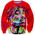 Colorido graffiti estilo 2pac tupac camisola rap hip hop 3d hoodies pullovers mulheres / homens outono outerwear gola alta jumper