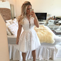 Vestidos De Coctel White Lace Cocktail Dresses 2016 Luxury Crew-Neck Appliqued Short Prom Party Gowns See-Through Sexy Pearls