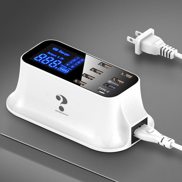 Sạc nhanh Quick Charge 3.0 Thông Minh USB Loại C Ga Màn Hình Hiển Thị Đèn LED Sạc Nhanh Điện Thoại Máy Tính Bảng Củ Sạc USB Dành Cho iPhone Samsung bộ chuyển đổi