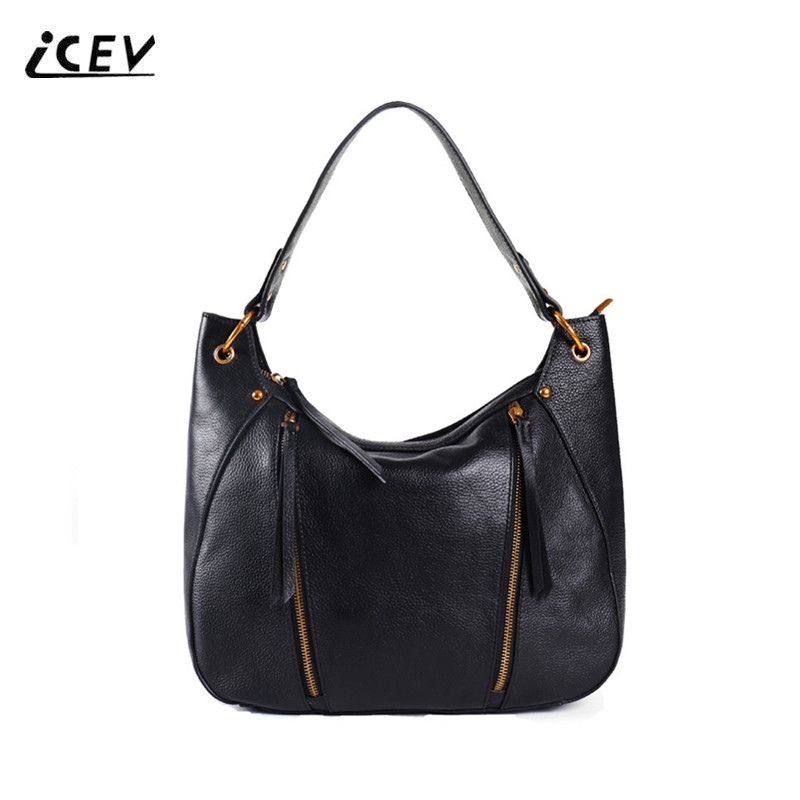 ICEV New Simple Vintage Genuine Leather Handbags Women Leather Handbags Ruched Ladies High Quality Cowhide Totes Bolsa Feminina icev new brands simple classic female cow leather designer handbags high quality genuine leather handbags women leather handbags