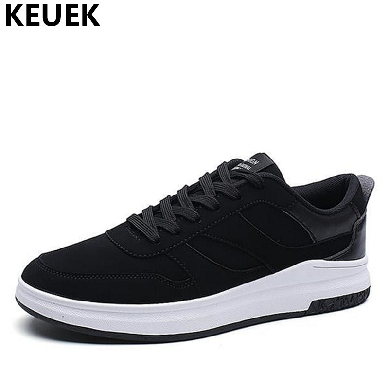 Spring Men Casual shoes Breathable Leather Fashion Male Flats Korean style Lace-Up Loafers Youth Sneakers Black 01B spring autumn fashion men high top shoes genuine leather breathable casual shoes male loafers youth sneakers flats 3a