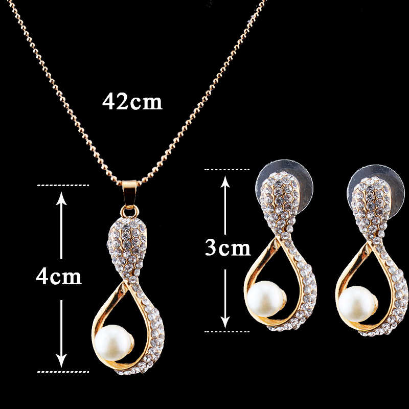 jiayijiaduo Bridal Jewelry Set for women imitation pearl Pendant Necklace Earrings gold-color wedding clothing accessories