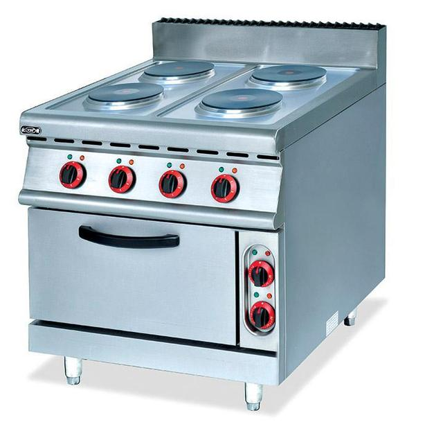 Eletric 4 Hot Plates Stainless Steel Cooktop With Cabinet Bbq Oven Food  Cooking Equipment Free Standing
