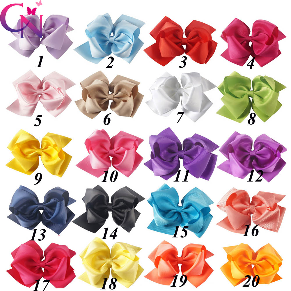 "Image 2 - 20 Pcs/lot 5"" Girls Boutique Hair Accessories Fashion Solid Handmade Ribbon Hair Bow With Clip For Kids Hair Accessories-in Hair Accessories from Mother & Kids"