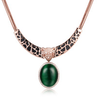 Cute Leopard Pendant Necklace Gold Plated With Oval Opal Hot Jewelry For Women 17 5