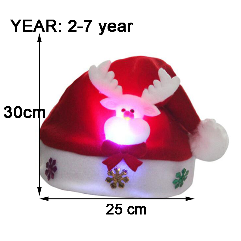 Christmas Hats Kids And Adult LEDLight UpLuminous Flash Santa Hats Christmas Party Decoration Christmas Decorations For Home (6)