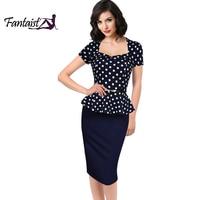 Fantaist 2016 Summer Women Vintage FakeTwo Piece Polka Dot Peplum Office Plus Size Dress Elegant Party
